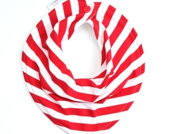 Fourth of July bib, red baby bib, baby bib, bandana bib, scarf bib, red stripe bib, drool bib, scarf bib, baby shower gift, red stripe bib