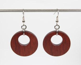 Bloodwood Earrings, Wooden Hoop Earrings, Creole Earrings, Wood Earrings, Wooden Dangle Earrings, Wooden Earrings, Wooden Drop Earrings, Red