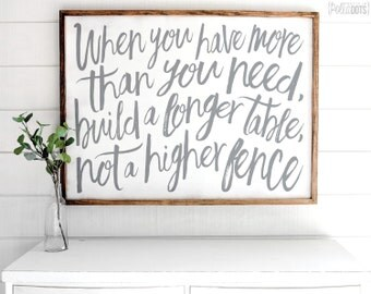When You Have More Than You Need Build A Longer Table Not A Higher Fence | FREE SHIPPING | Farmhouse Wood Sign | Shabby Chic Decor | 47x35