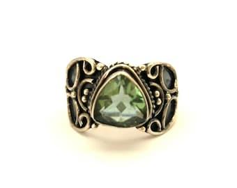 Vintage Ring Green Amethyst Genuine Stone Sterling Silver 925 Handmade