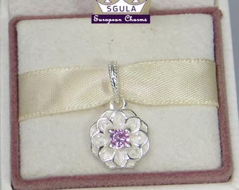 925 Sterling Silver Charm European bead Blooming Dahlia Pendant fit Pandora bracelet and European Bracelets