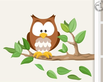 """Wall decal """"owl on the branch"""" from woodland serie I. wall sticker nursary wood forest animals"""