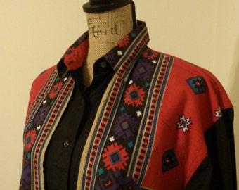 Vintage 'Adobe Rose' Western Button Down Shirt