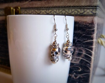Skull princess dangling earrings, silver, sparkling, shiny, gift for her, stocking stuffers, by Felicianation