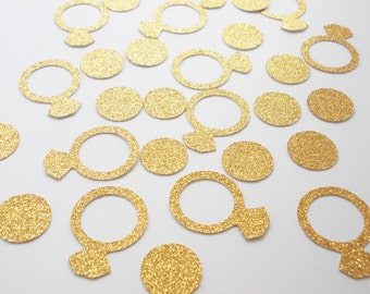 Bridal Shower Ring  & Circle Confetti, Glitter Gold or Silver Engagement Party Decoration, Wedding Confetti , Bachelorette, 50 Ct.
