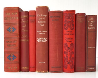 Vintage book collection, stack of books, home decor, instant library, set of 8, red books