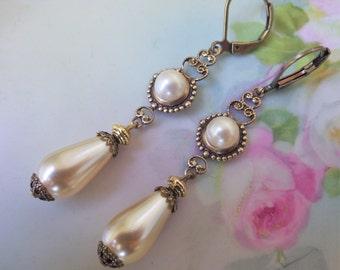 Vintage Style ~ Pearl Earrings ~ Cream Pearl ~ Vintage Glass ~ Wedding Earrings ~ Victorian Style ~ June Birthday ~ by LadyofTheLakeJewels