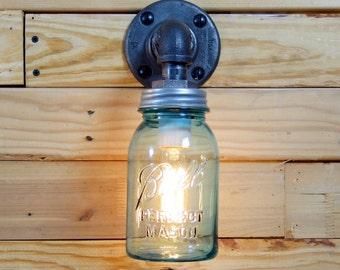 Vintage 1 Quart Aquamarine Mason Jar Wall Sconce Light Black Iron Industrial Steampunk Style