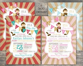 Little Peanut Carnival Theme Baby Shower Invitation Card - Printable File