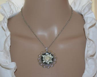 Necklace with genuine natural precious Edelweiss