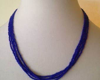 Royal blue,beaded necklace,minimalist,necklace,choker necklace,bridesmaid gift,delicate necklace,dainty necklace,seed beads jewelry