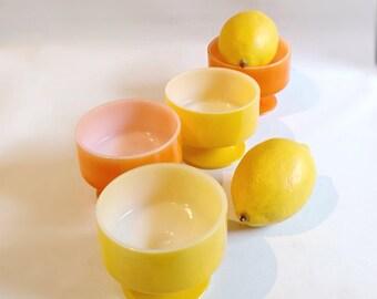 Retro  Orange and Yellow Milk Glass  Parfait Dessert Cups