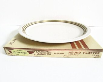 Round Platter, Vintage Stoneware, Woodberry Collection Nutmeg WC 08, Brown Rings Yellow Accent, Hand Painted, Original Box