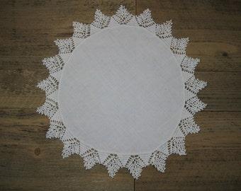 """Vintage 12"""" Cotton Crocheted Edge Doily White"""
