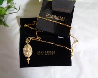 Joan Rivers Pearl Studded Locket Enhancer Gold Plated Pendant Necklace Original Box Black Velvet Pouch Authentication Card