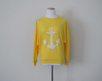 FREE usa SHIPPING Vintage pullover oversized batwing yellow top long sleeves polyester cotton  white anchor applique size S