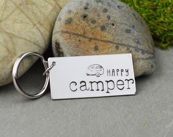 Happy Camper Keychain • Handstamped Travel Gift • Wanderlust Key Chain