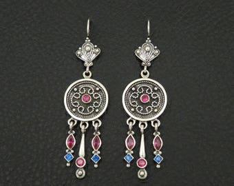 Ruby Sapphire Cz Byzantine Style 925 Sterling Silver Greek Handmade Art Luxury