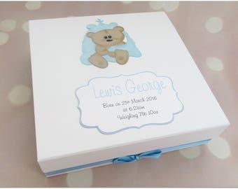 Personalised Baby Boy large  keepsake memory box, new baby boy, baby boy gift