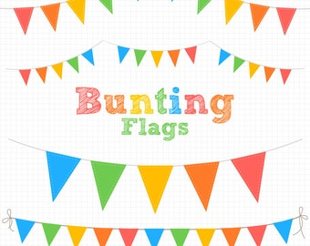 Bunting Clipart, Carnival Circus Flags, Digital Clipart - Instant Download