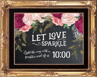 sparkler send off sign, custom sparkler sign, burgundy sparkler sign, printable sparkler sign, light the way sign, 8 x 10, YOU PRINT