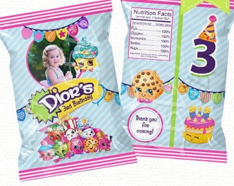 "Custom Bag Printable, Candy Bag, Chip Bag, Party Bags | Style 60 | Any Age  | 5"" x 7"" -YOU PRINT"