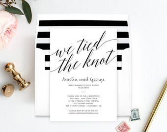 Wedding Reception Party Invitation with Bonus Envelope Liner - Mod Script - Editable PDF Template - Printable Invitations