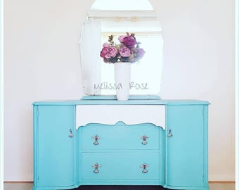 NOW *SOLD* Subject to Collection *** Bright Turquoise Dressing Chest - Dressing Table with Large Mirror & Storage Space - Home Furniture