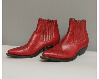 vintage 60s style woman ankle boots red leather DonQuijote 35/36