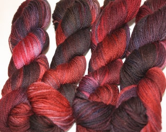 Superwash Hand Dyed Sock Yarn:  The Wolf Was Framed