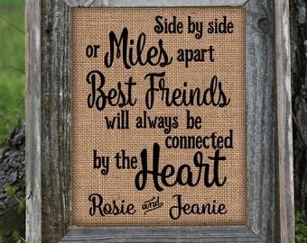 Framed Christmas Gift for Best Friend | Personalized Gift For Best Friend | Miles Apart | Best Friend Love Heart | BFF || Burlap Print | 264