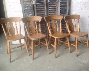 Eight farmhouse kitchen dining chairs