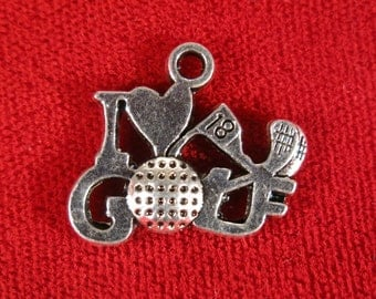 "BULK! 15pc ""I love golf"" charms in antique silver style (BC271B)"