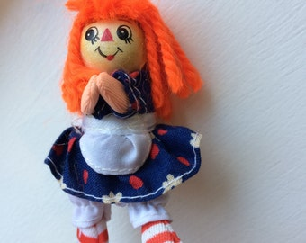 Vintage Miniature Raggedy Ann Wooden 1978 The Bobbs Merrill Co. Doll