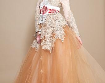 Beige tulle  lace dress