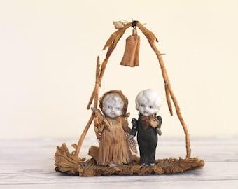 Antique Small Bisque Kewpie Bride & Groom Wedding Cake Topper, Vintage Bisque Figures Bride and Groom