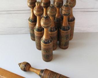 Vintage Turned Wood Skittles Game Pins - Set of 9, Vintage Wooden Turned Wood Pins, Bowling Pin Set, Vintage Wood Game Pins