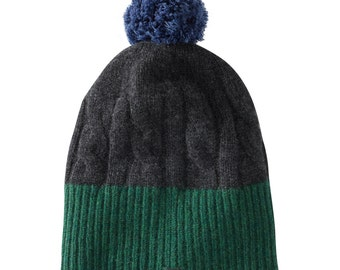 Soft, cosy, Lambswool pompom hat knitted in Scotland.