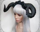 Demon Horns Headdress (  Black, Roses, Goth , Fantasy, Headpiece )