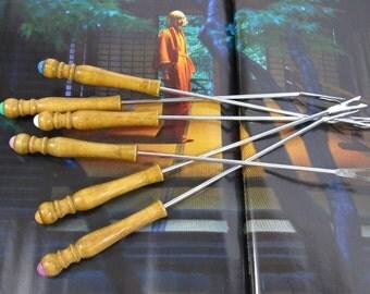 Vintage Mid Century Fondue Forks Set of  Wood Fondue Forks Multi Color Ends