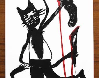 Signed Original Mel Sheppard Screen Print 'Cats Got Your Tongue' (A4 Size)