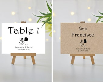 A5/A6 Personalised Wedding/Party/Dinner Table Name / Number Cards (008)
