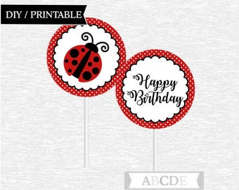 Instant Download Ladybug Birthday Cupcake Toppers, Happy Birthday Toppers DIY Printable (PDLB101)