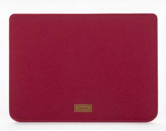 iPad Mini Cover - iPad Mini Case Leather - iPad Felt and Leather Case - Red iPad Mini Sleeve - Apple iPad Mini Felt Sleeve