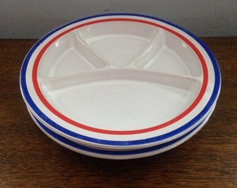 vintage kids divided plates, ceramic , red white and blue , set of 2