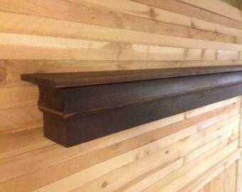 Distressed Brown Shelf, Brown Mantle Shelf, Mantle