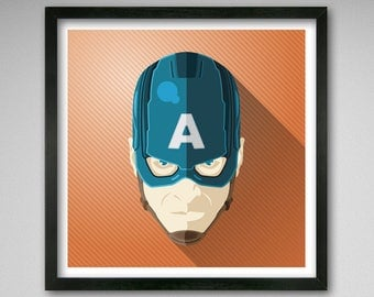 8x8 Captain America from Avengers - Icon Style print