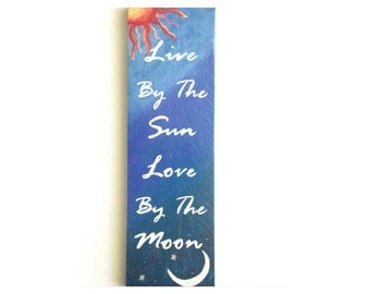 Live By The Sun Love By The Moon- hand painted reclaimed wood sign- sun and moon wall hanging- hippie room decor- sun and moon decor