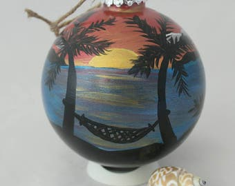 Tropical Beach Sunset with Hammock and Palm Trees Ornament - Beach themed XL Hand painted glass ornament - Beach Vacation Memory Idea