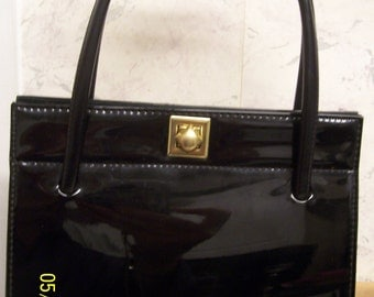 Freedex Authentic Vintage Stylish Black Patent Handbag